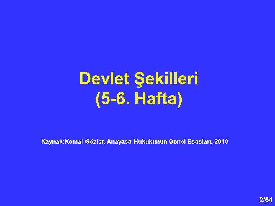 Kaynak:Kemal Gözler, Anayasa Hukukunun Genel Esasları, 2010