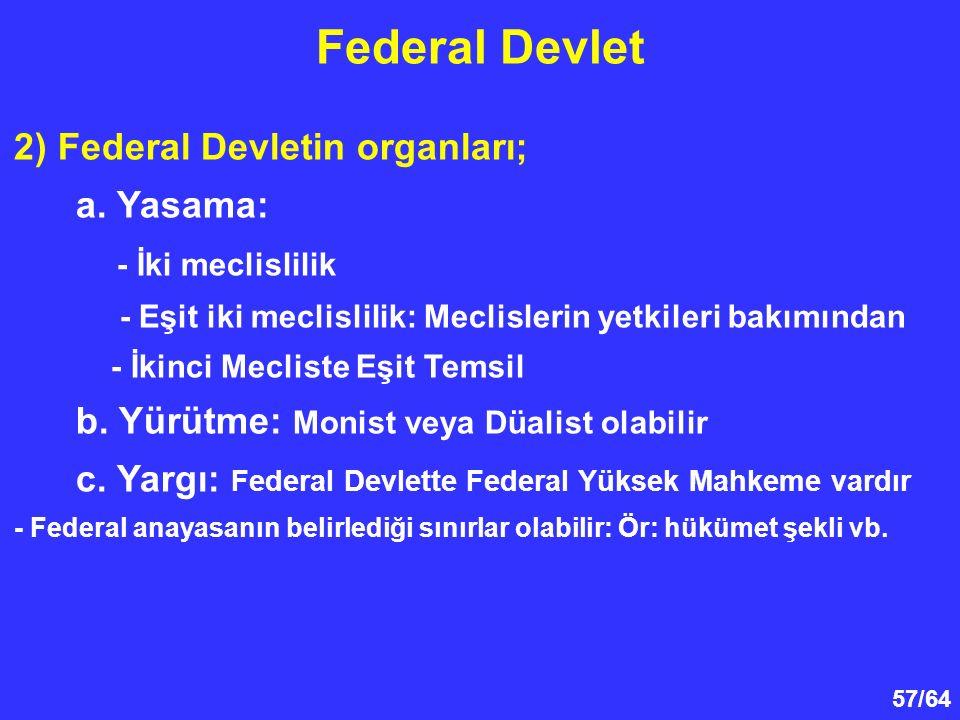 Federal Devlet 2) Federal Devletin organları; a. Yasama: