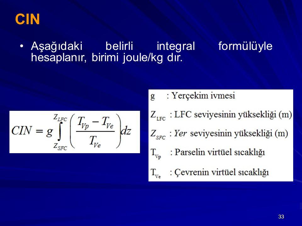 CIN Aşağıdaki belirli integral formülüyle hesaplanır, birimi joule/kg dır.