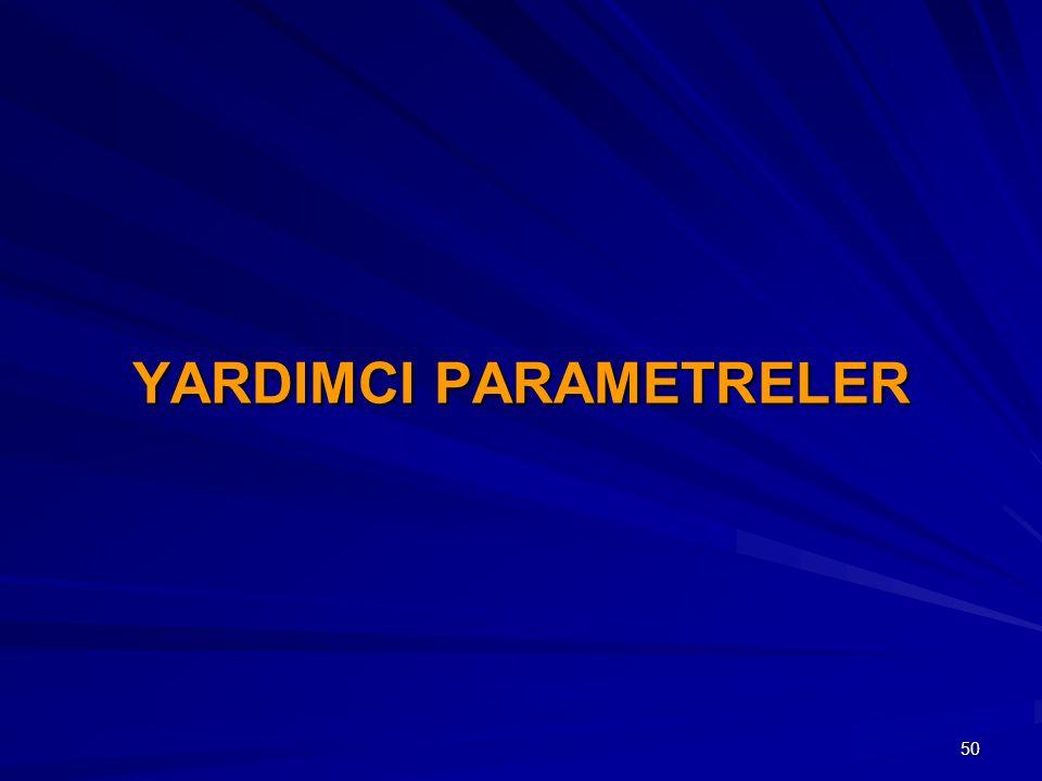 YARDIMCI PARAMETRELER