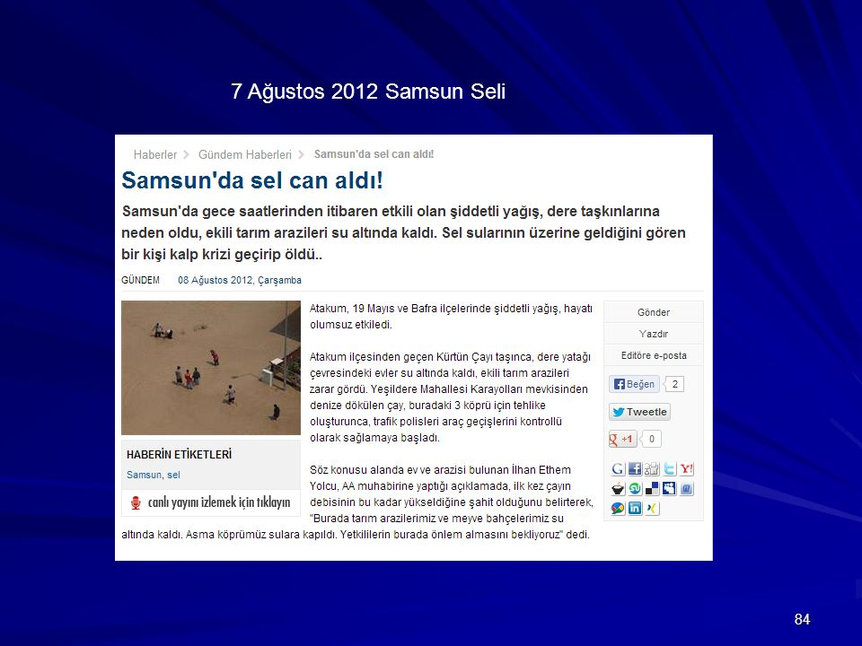 7 Ağustos 2012 Samsun Seli