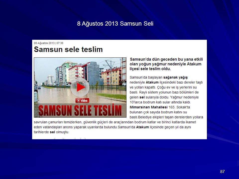 8 Ağustos 2013 Samsun Seli