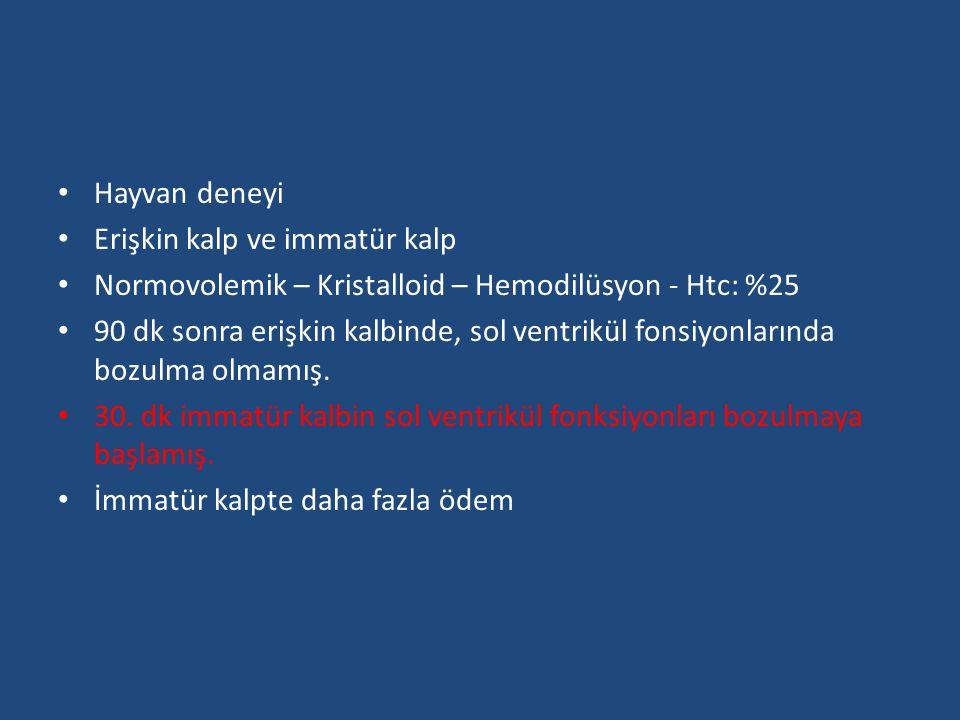 Hayvan deneyi Erişkin kalp ve immatür kalp. Normovolemik – Kristalloid – Hemodilüsyon - Htc: %25.