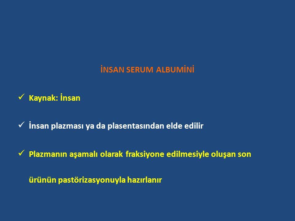 İNSAN SERUM ALBUMİNİ Kaynak: İnsan. İnsan plazması ya da plasentasından elde edilir.