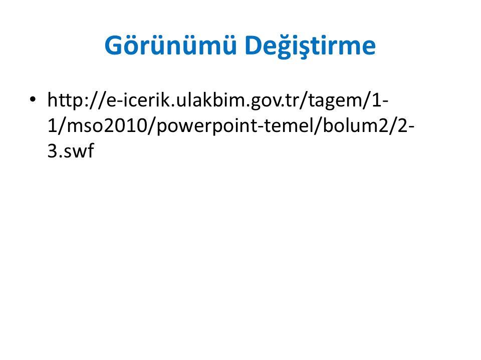 Görünümü Değiştirme http://e-icerik.ulakbim.gov.tr/tagem/1-1/mso2010/powerpoint-temel/bolum2/2-3.swf.