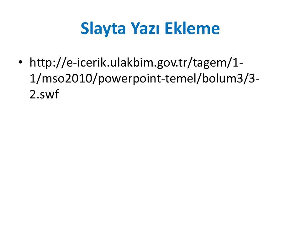 Slayta Yazı Ekleme http://e-icerik.ulakbim.gov.tr/tagem/1-1/mso2010/powerpoint-temel/bolum3/3-2.swf