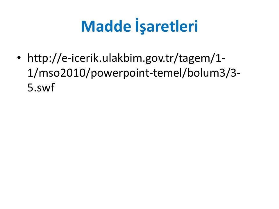 Madde İşaretleri http://e-icerik.ulakbim.gov.tr/tagem/1-1/mso2010/powerpoint-temel/bolum3/3-5.swf