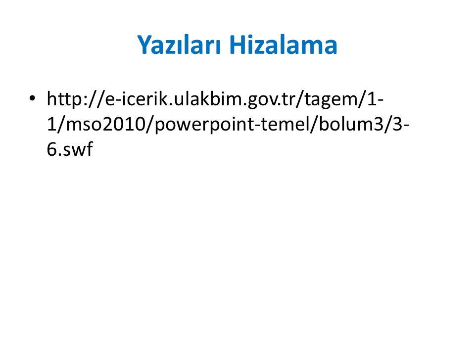 Yazıları Hizalama http://e-icerik.ulakbim.gov.tr/tagem/1-1/mso2010/powerpoint-temel/bolum3/3-6.swf