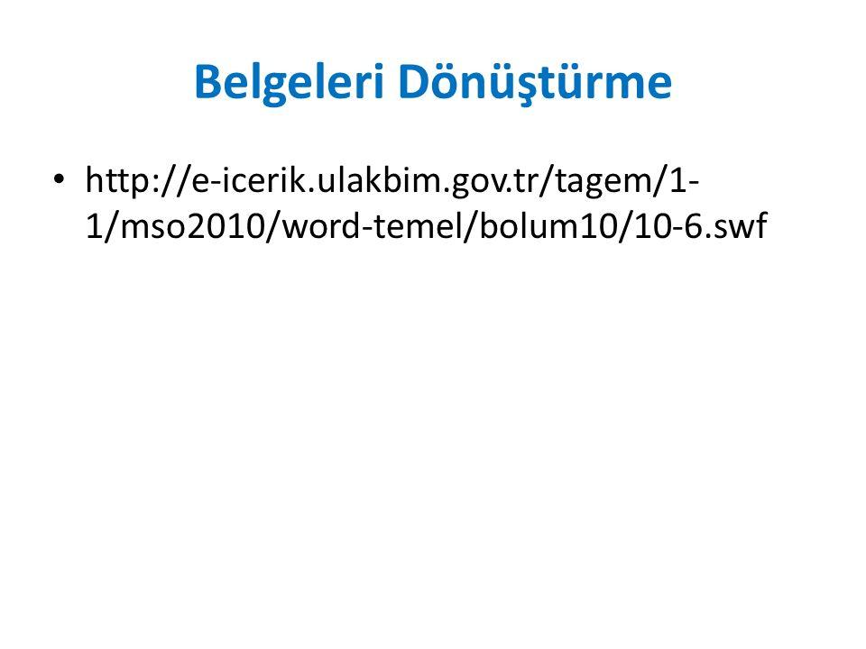 Belgeleri Dönüştürme http://e-icerik.ulakbim.gov.tr/tagem/1-1/mso2010/word-temel/bolum10/10-6.swf