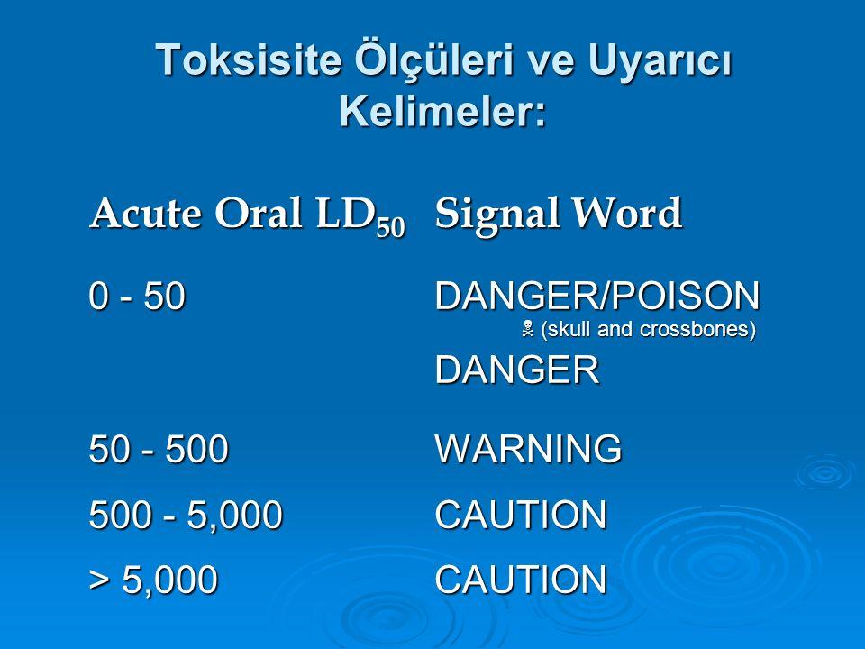 Toksisite Ölçüleri ve Uyarıcı Kelimeler: