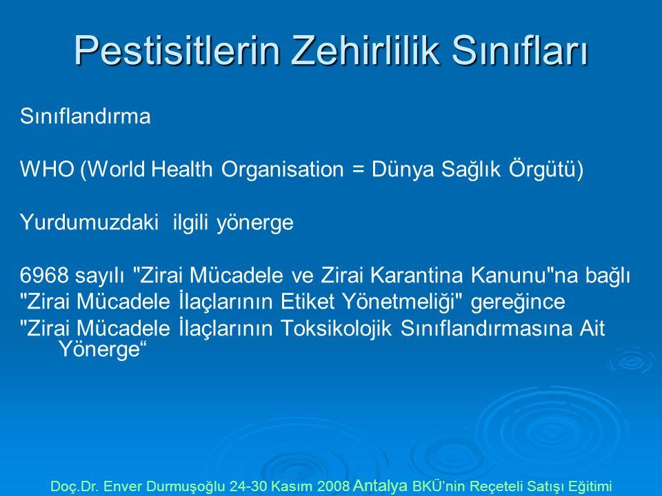 Pestisitlerin Zehirlilik Sınıfları
