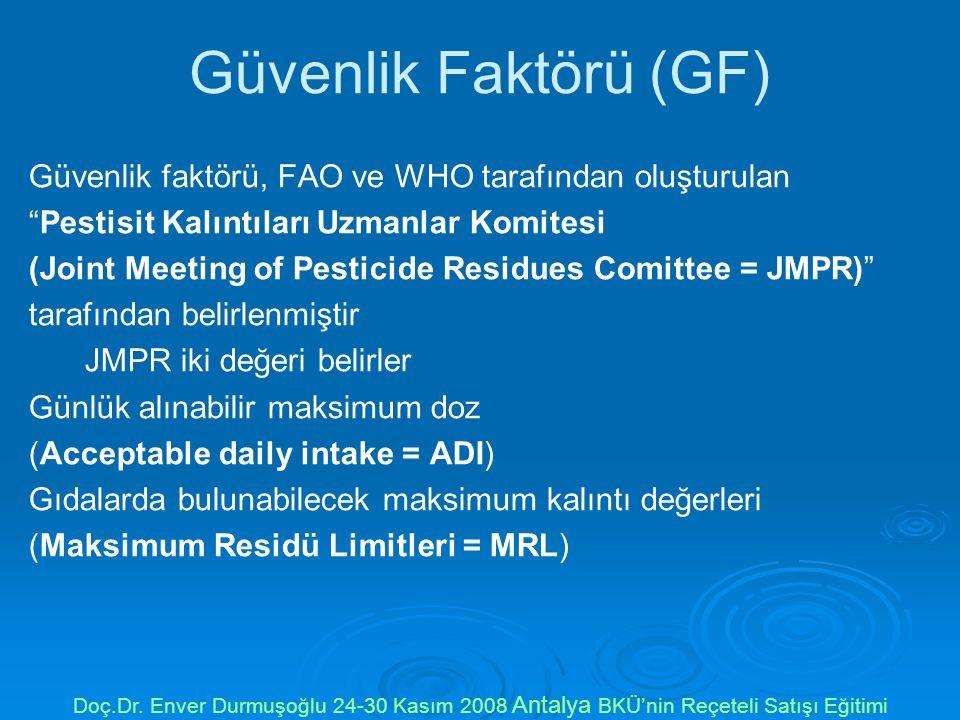 Güvenlik Faktörü (GF) Güvenlik faktörü, FAO ve WHO tarafından oluşturulan. Pestisit Kalıntıları Uzmanlar Komitesi.