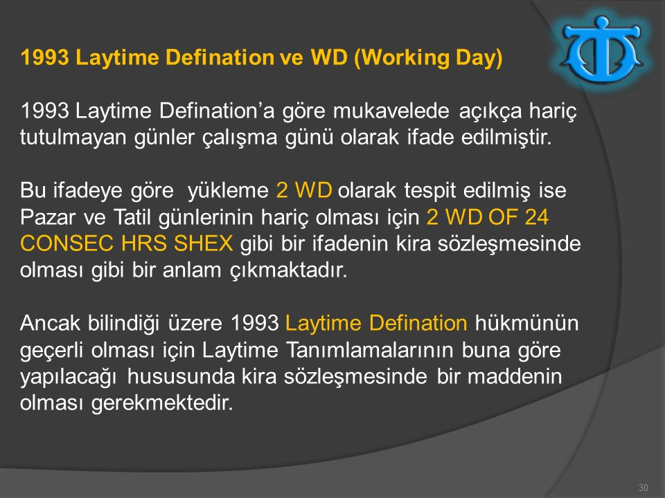 1993 Laytime Defination ve WD (Working Day)