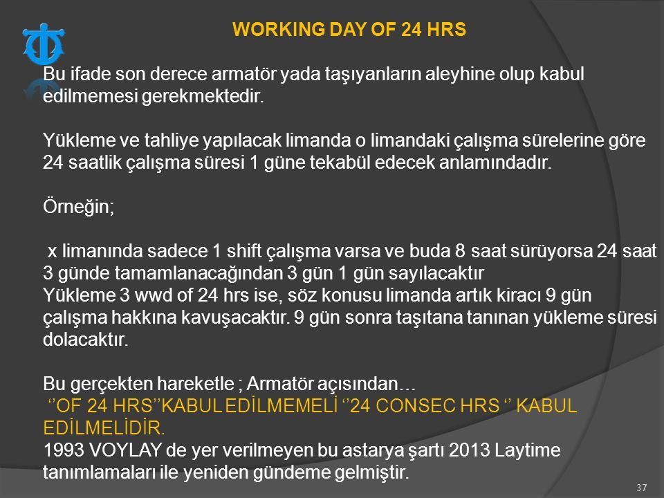 WORKING DAY OF 24 HRS Bu ifade son derece armatör yada taşıyanların aleyhine olup kabul edilmemesi gerekmektedir.