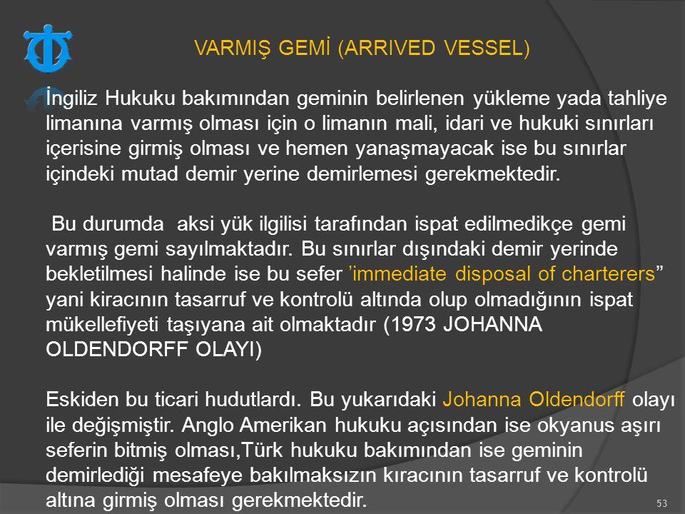 VARMIŞ GEMİ (ARRIVED VESSEL)