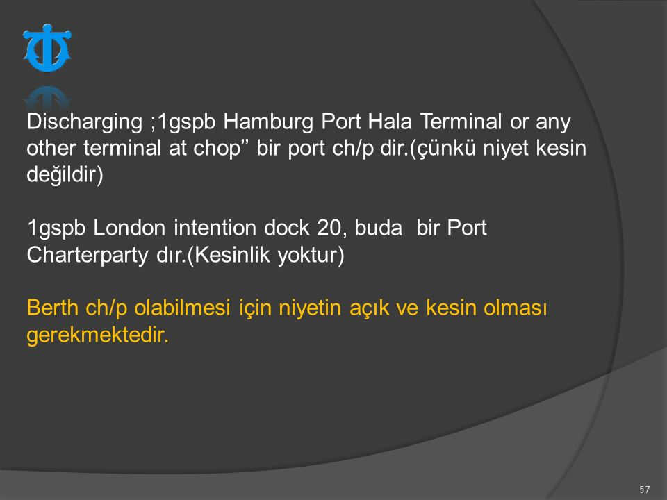 Discharging ;1gspb Hamburg Port Hala Terminal or any other terminal at chop'' bir port ch/p dir.(çünkü niyet kesin değildir)