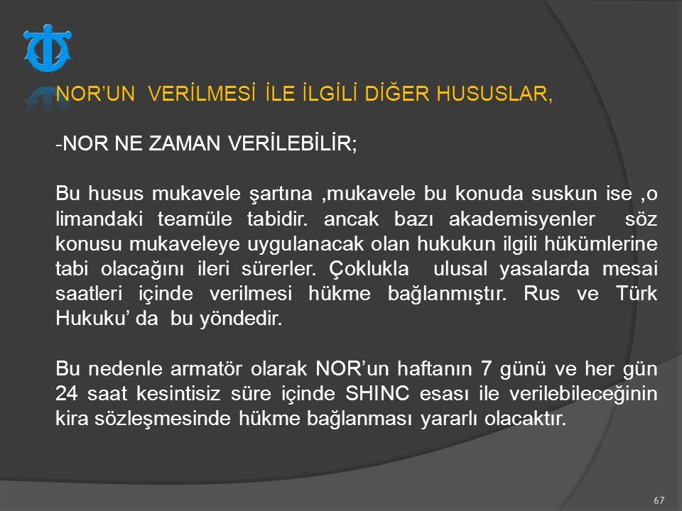 NOR'UN VERİLMESİ İLE İLGİLİ DİĞER HUSUSLAR,