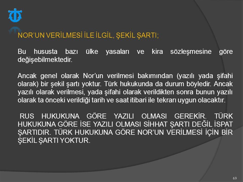 NOR'UN VERİLMESİ İLE İLGİL, ŞEKİL ŞARTI;