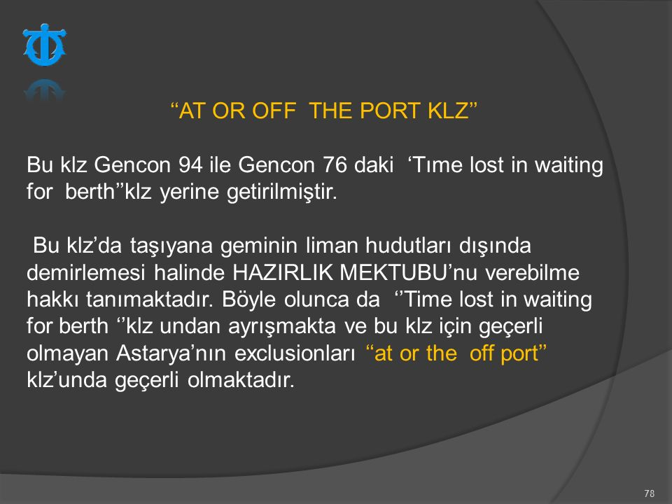 ''AT OR OFF THE PORT KLZ''