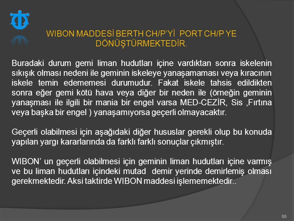 WIBON MADDESİ BERTH CH/P'Yİ PORT CH/P YE DÖNÜŞTÜRMEKTEDİR.