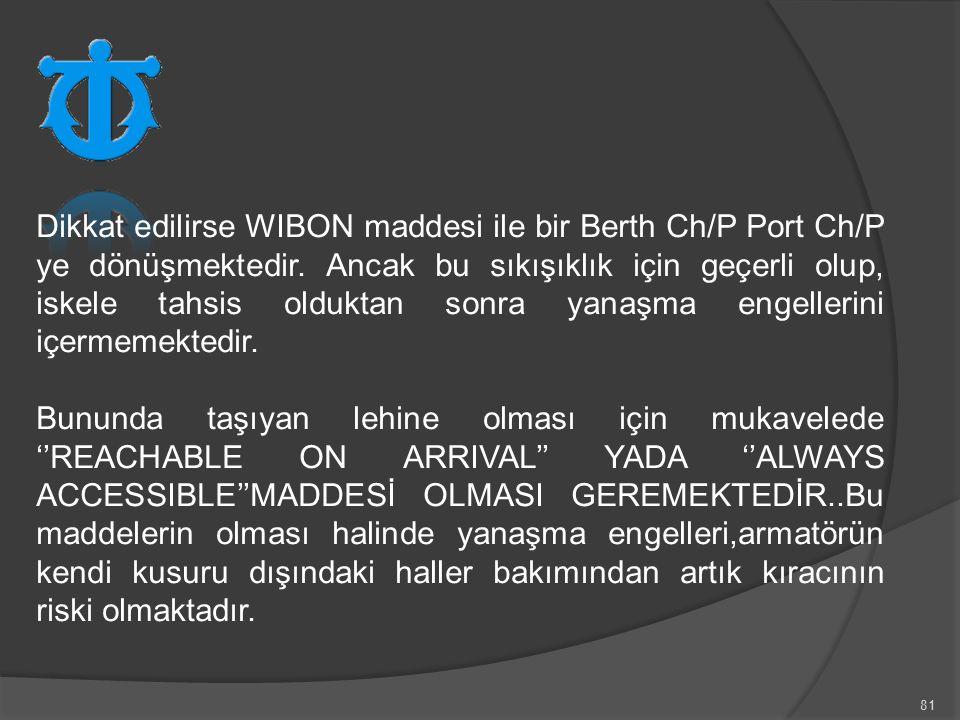 Dikkat edilirse WIBON maddesi ile bir Berth Ch/P Port Ch/P ye dönüşmektedir. Ancak bu sıkışıklık için geçerli olup, iskele tahsis olduktan sonra yanaşma engellerini içermemektedir.