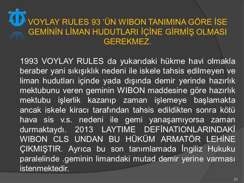 VOYLAY RULES 93 'ÜN WIBON TANIMINA GÖRE İSE GEMİNİN LİMAN HUDUTLARI İÇİNE GİRMİŞ OLMASI GEREKMEZ.