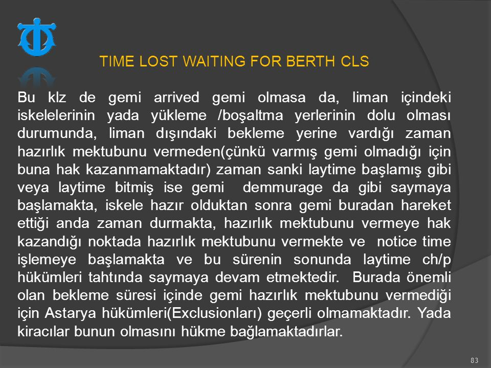 TIME LOST WAITING FOR BERTH CLS