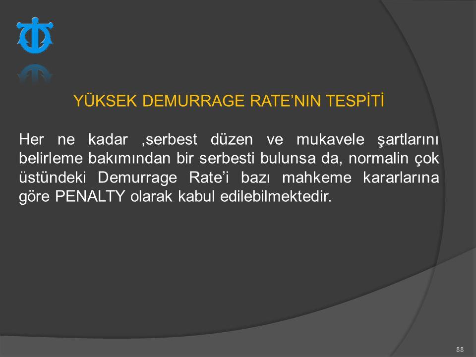 YÜKSEK DEMURRAGE RATE'NIN TESPİTİ