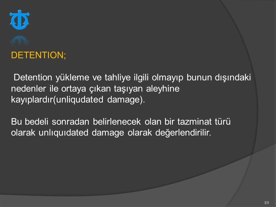 DETENTION; Detention yükleme ve tahliye ilgili olmayıp bunun dışındaki nedenler ile ortaya çıkan taşıyan aleyhine kayıplardır(unliqudated damage).