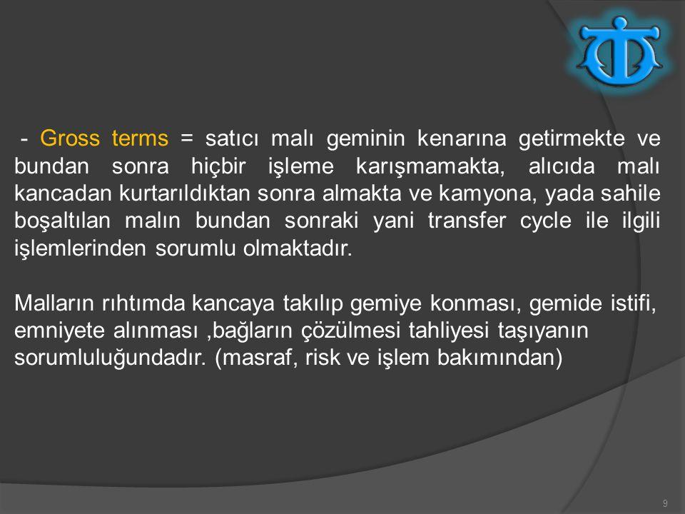 - Gross terms = satıcı malı geminin kenarına getirmekte ve bundan sonra hiçbir işleme karışmamakta, alıcıda malı kancadan kurtarıldıktan sonra almakta ve kamyona, yada sahile boşaltılan malın bundan sonraki yani transfer cycle ile ilgili işlemlerinden sorumlu olmaktadır.