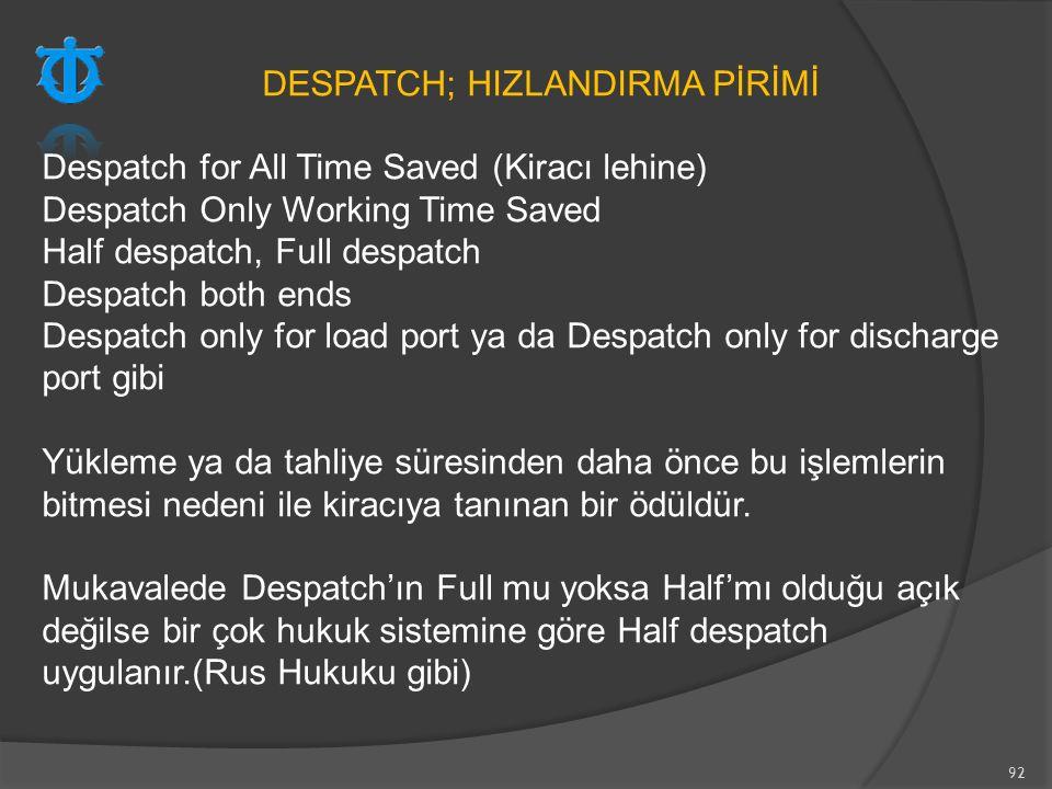 DESPATCH; HIZLANDIRMA PİRİMİ