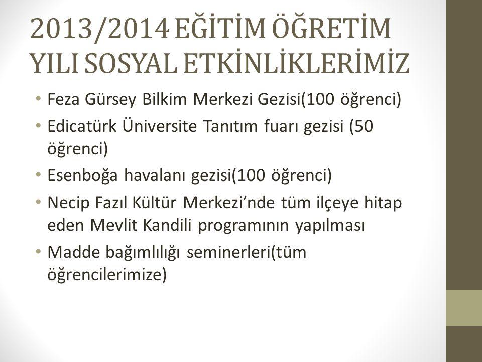 2013/2014 EĞİTİM ÖĞRETİM YILI SOSYAL ETKİNLİKLERİMİZ