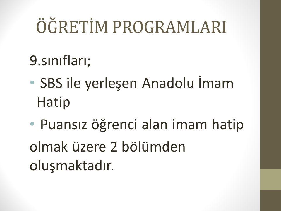ÖĞRETİM PROGRAMLARI 9.sınıfları; SBS ile yerleşen Anadolu İmam Hatip