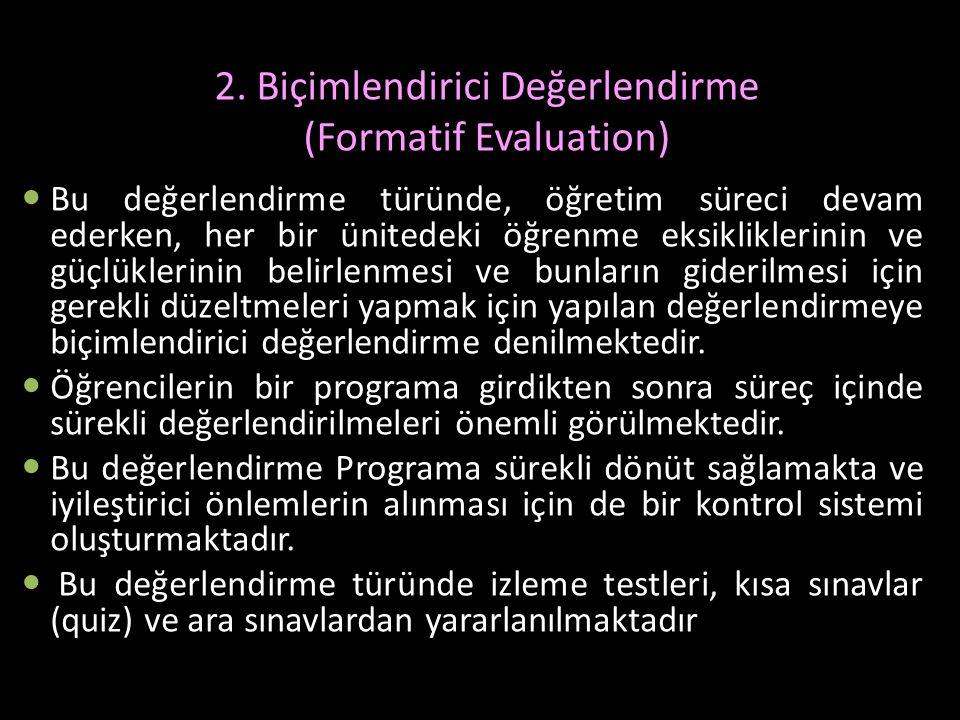 2. Biçimlendirici Değerlendirme (Formatif Evaluation)