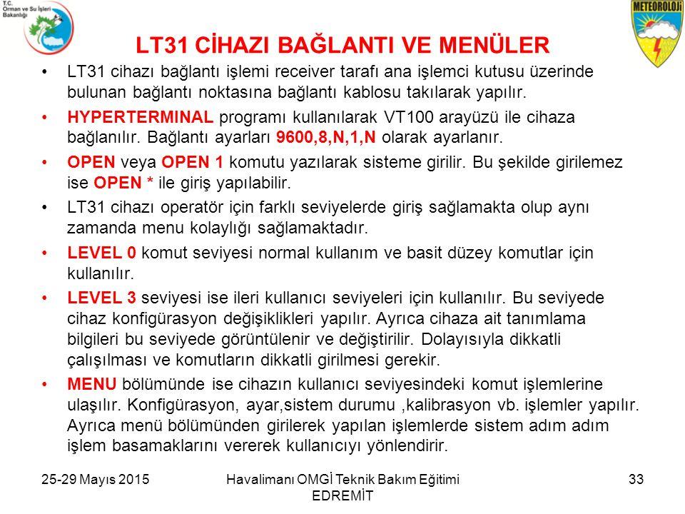 LT31 CİHAZI BAĞLANTI VE MENÜLER