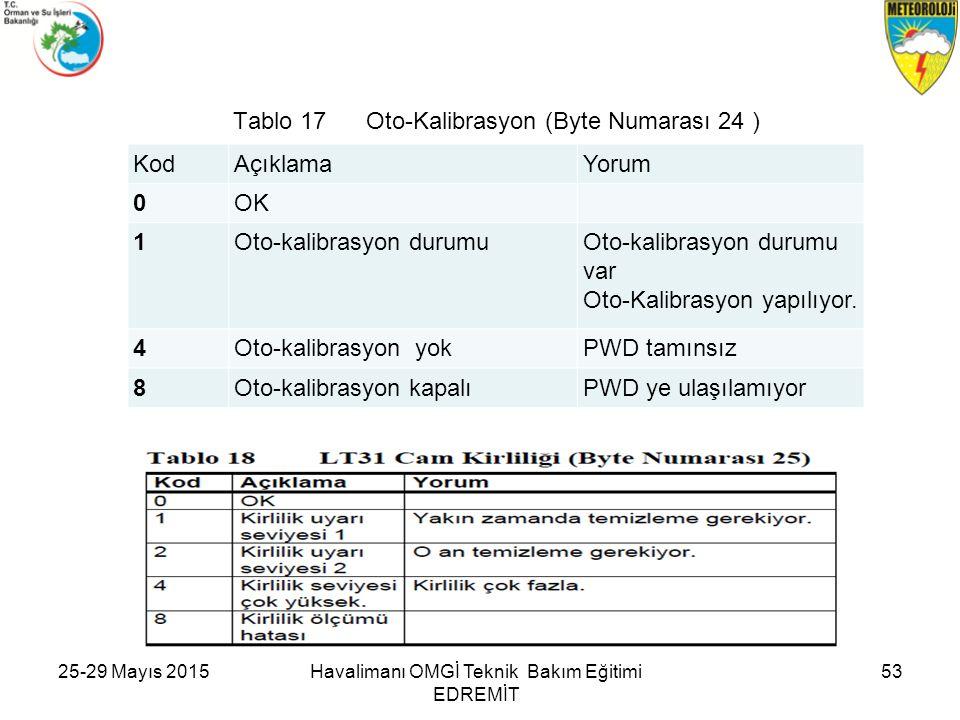 Tablo 17 Oto-Kalibrasyon (Byte Numarası 24 )