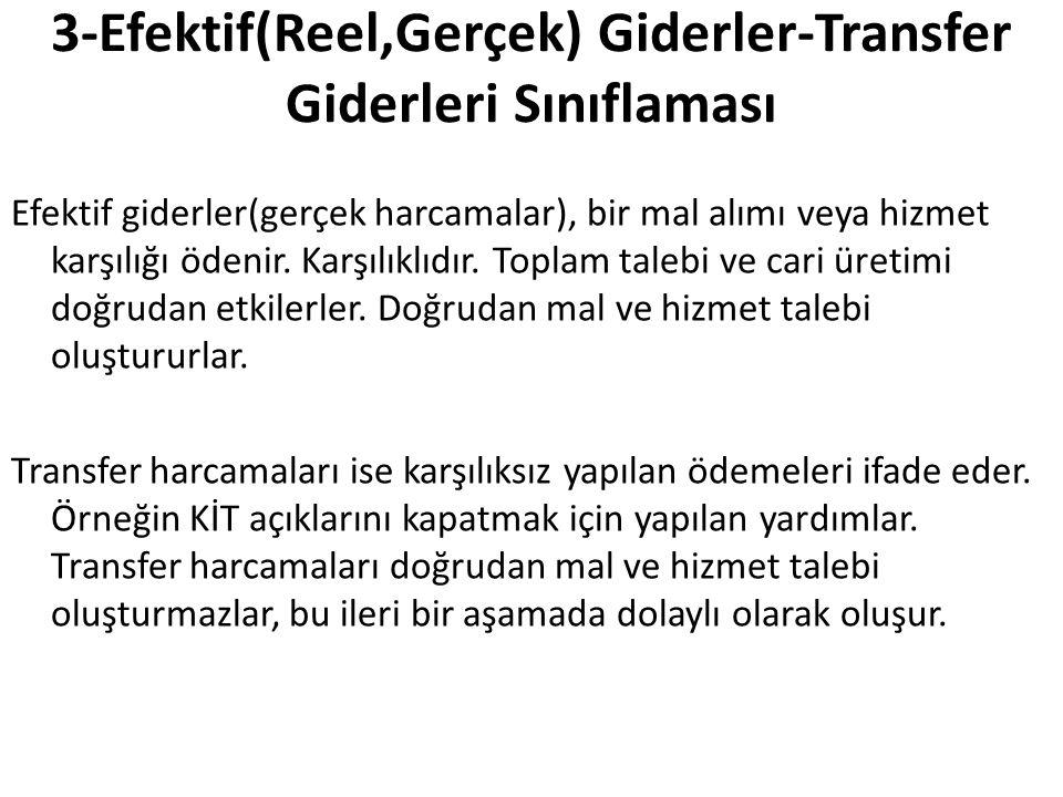 3-Efektif(Reel,Gerçek) Giderler-Transfer Giderleri Sınıflaması