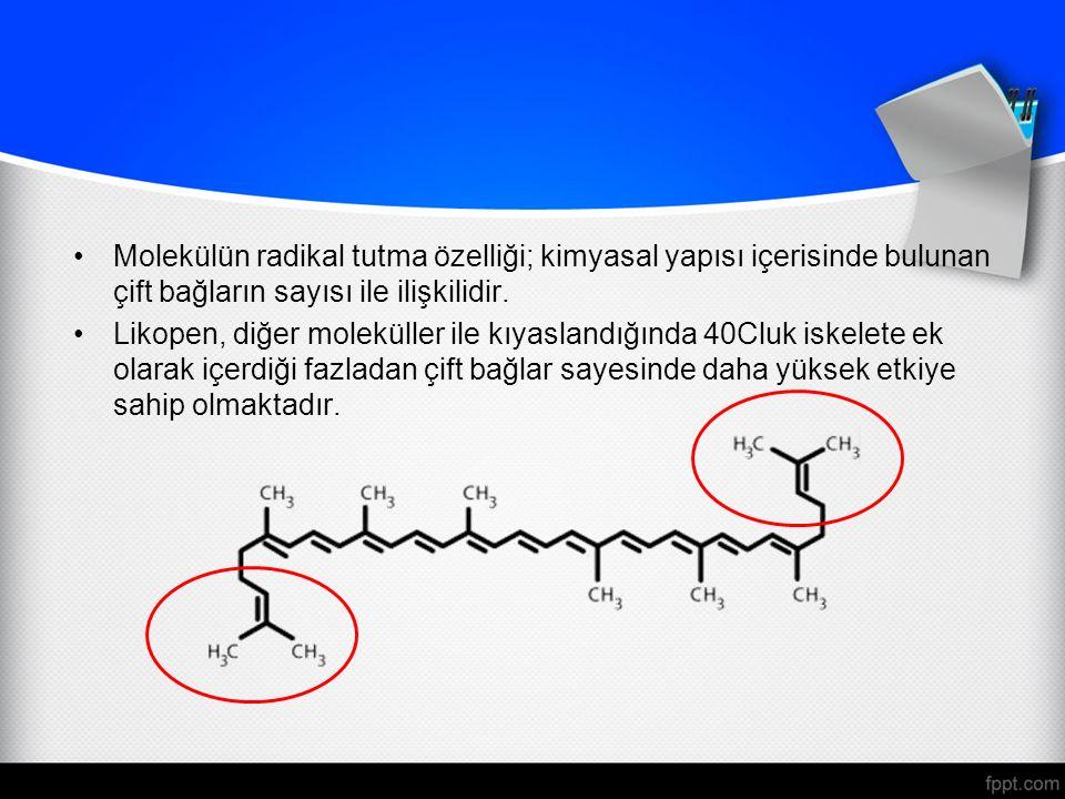 Molekülün radikal tutma özelliği; kimyasal yapısı içerisinde bulunan çift bağların sayısı ile ilişkilidir.