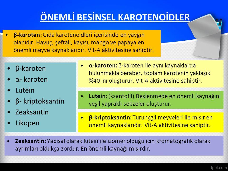 ÖNEMLİ BESİNSEL KAROTENOİDLER