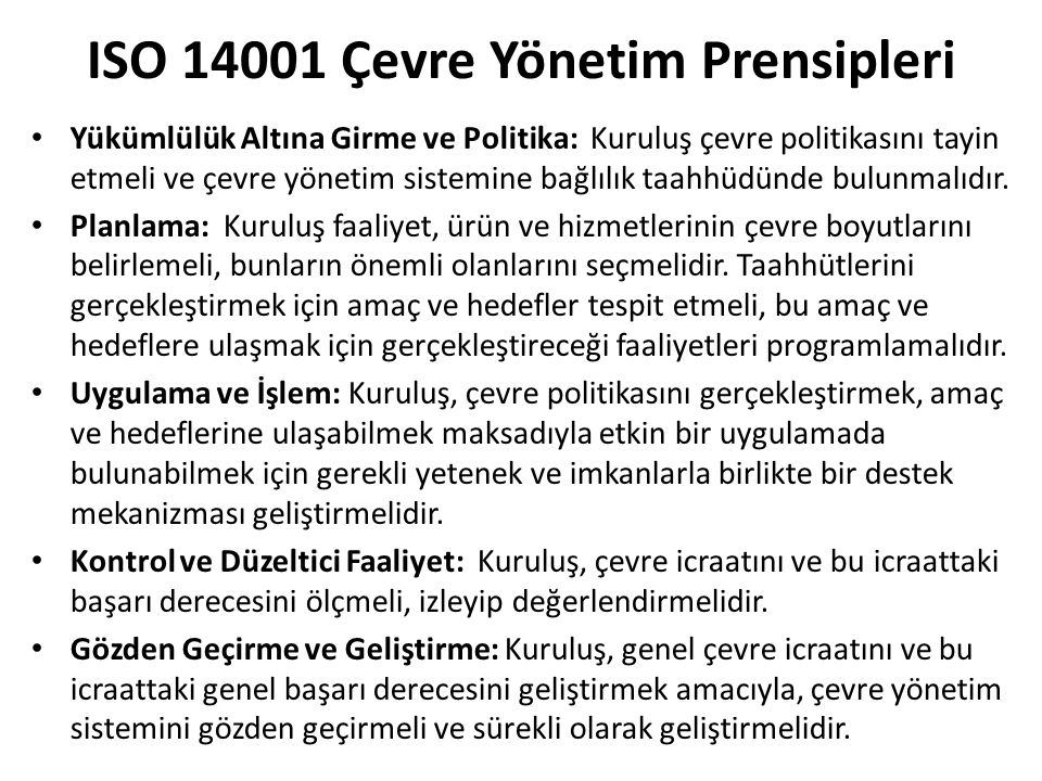 ISO 14001 Çevre Yönetim Prensipleri
