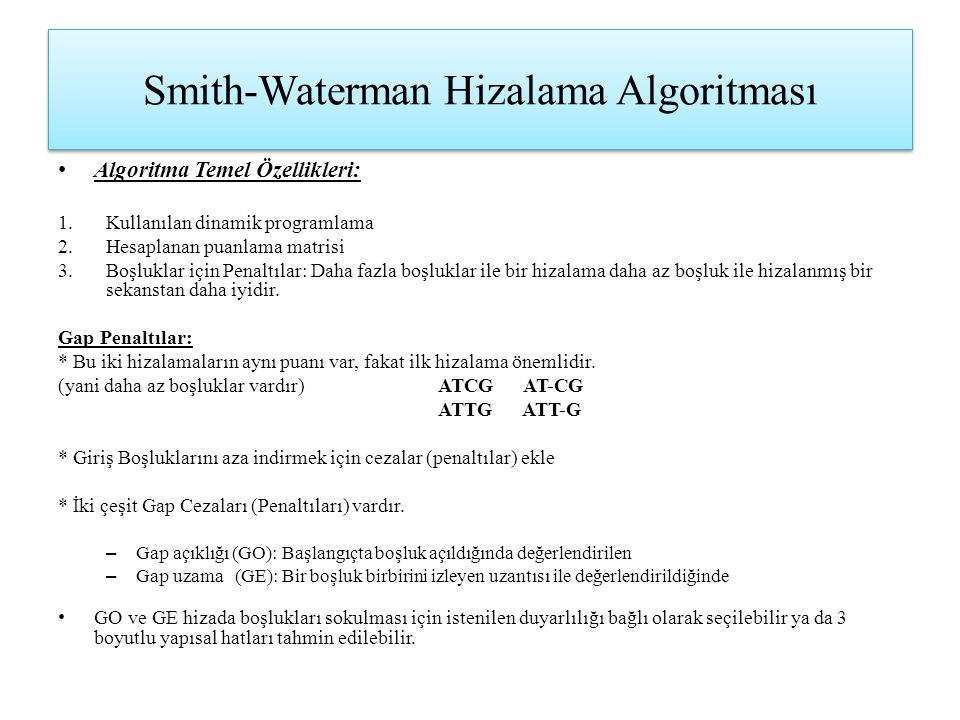Smith-Waterman Hizalama Algoritması