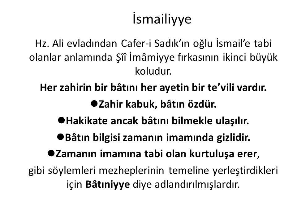 İsmailiyye Hz. Ali evladından Cafer-i Sadık'ın oğlu İsmail'e tabi olanlar anlamında Şîî İmâmiyye fırkasının ikinci büyük koludur.