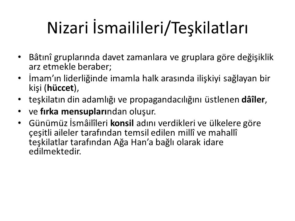 Nizari İsmailileri/Teşkilatları