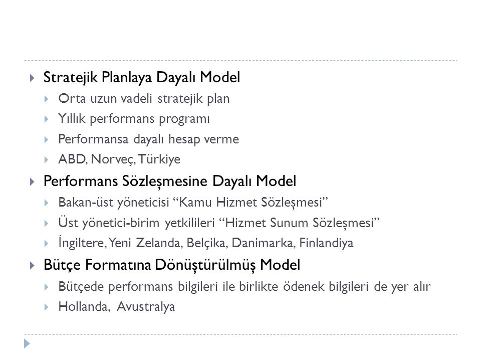 Stratejik Planlaya Dayalı Model