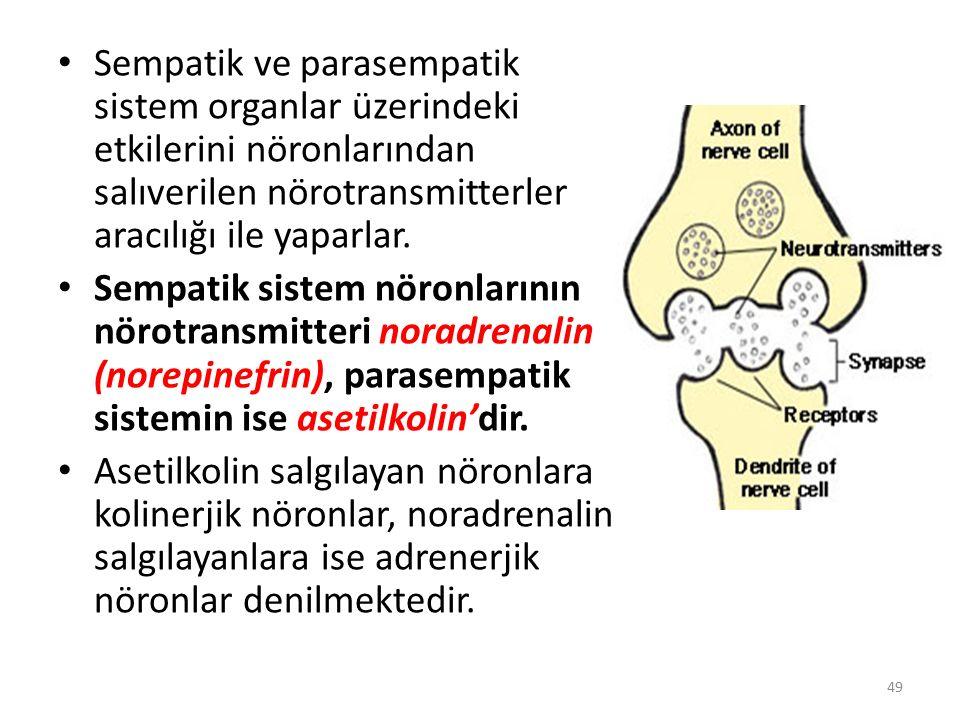 Sempatik ve parasempatik sistem organlar üzerindeki etkilerini nöronlarından salıverilen nörotransmitterler aracılığı ile yaparlar.