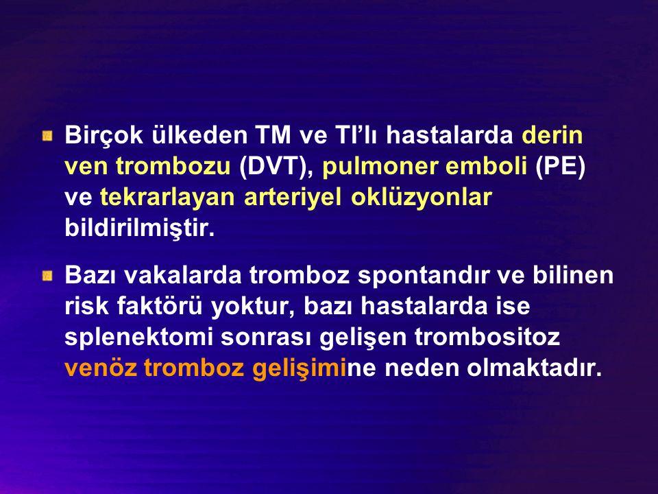 Birçok ülkeden TM ve TI'lı hastalarda derin ven trombozu (DVT), pulmoner emboli (PE) ve tekrarlayan arteriyel oklüzyonlar bildirilmiştir.