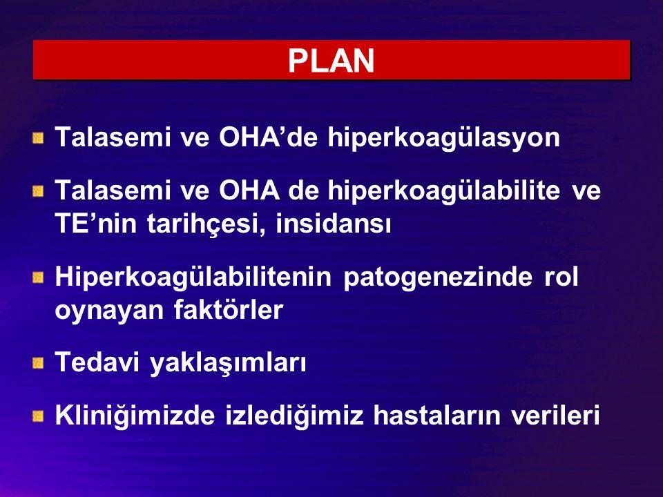 PLAN Talasemi ve OHA'de hiperkoagülasyon