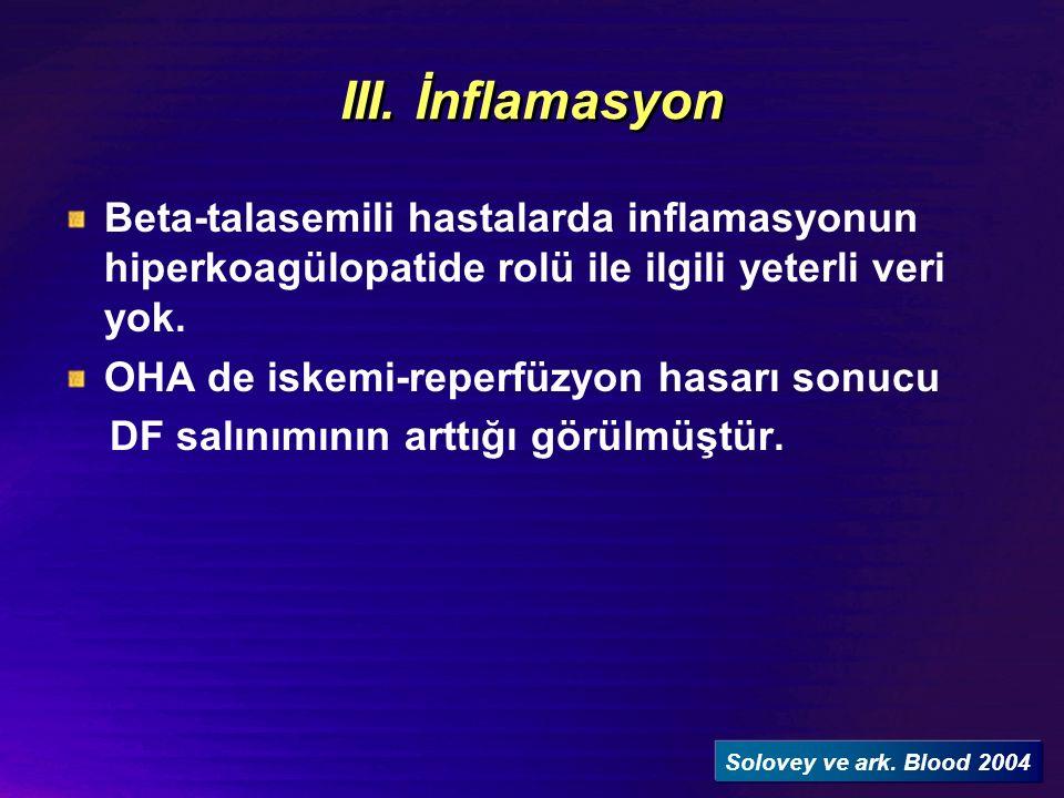 III. İnflamasyon Beta-talasemili hastalarda inflamasyonun hiperkoagülopatide rolü ile ilgili yeterli veri yok.