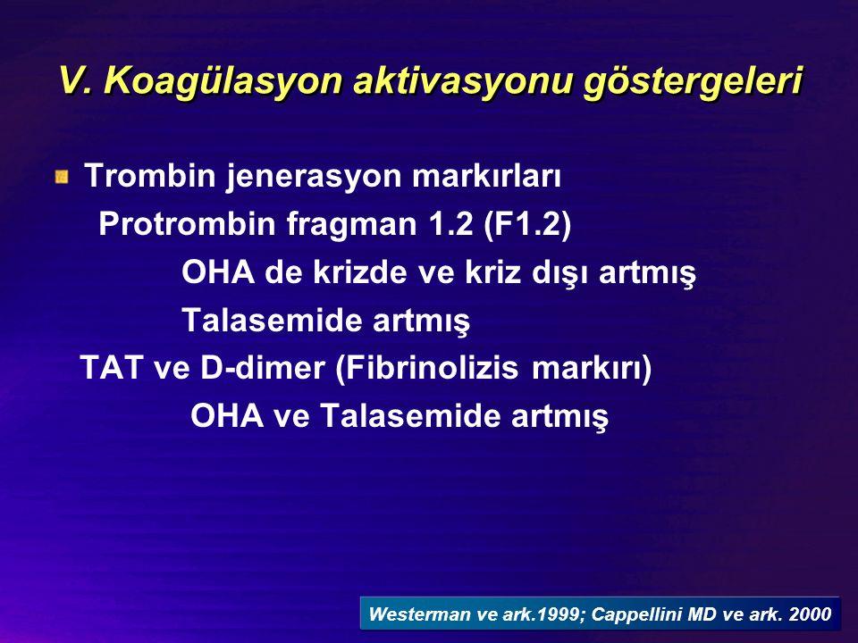 V. Koagülasyon aktivasyonu göstergeleri