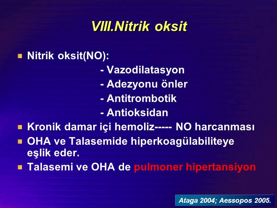 VIII.Nitrik oksit Nitrik oksit(NO): - Vazodilatasyon - Adezyonu önler